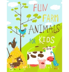 Colorful funny cartoon farm domestic animals vector