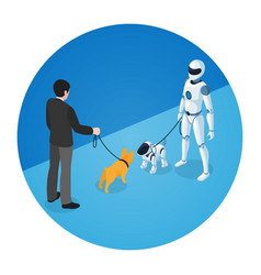 Dog owner and domestic robot with robot dog vector