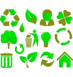 eco icon set green vector image