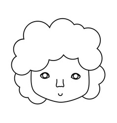 Figure man face with curly hair icon vector