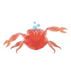 Hand drawing red crab sea life marine bubbles vector