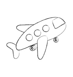 monochrome contour hand drawing of cartoon jet vector image vector image