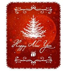 New Year Tree Vintage Greeting Card vector image vector image