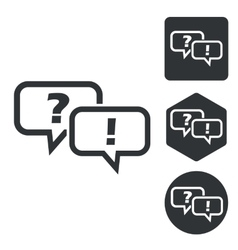 Question answer icon set monochrome vector