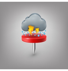 Red pin icon weather Rain cloud lightning vector image