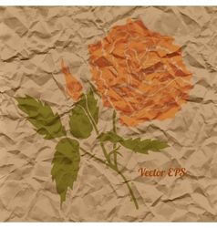 red rose creased paper vector image