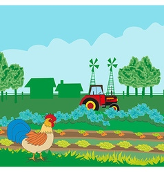 Rural landscape with roster vector