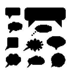 set of black speech bubbles in pixel art vector image vector image