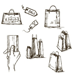 Shopping icons sale tag paper bags vector