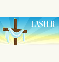 Silhouette of wooden cross with shroud happy vector