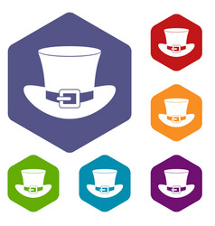 Top hat with buckle icons set hexagon vector