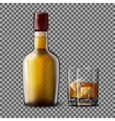 Transparent realistic bottle and glass with vector