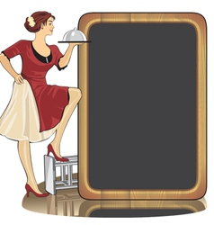 waitress with a tray vector image vector image