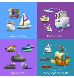 Water transport icons set vector