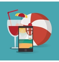 Smartphone cocktail ball vacation summer vector