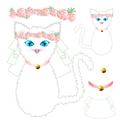 White cat bride wedding vector