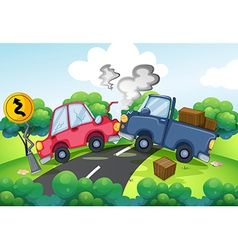An accident at the road vector