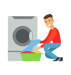 Man taking out clean laundry part of people using vector