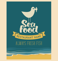 Emblem seafood with seagull with fish in its beak vector