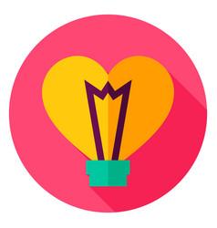 Love light bulb circle icon vector