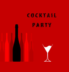 Alcoholic bar menu red vector