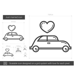 Just married line icon vector