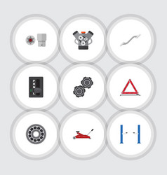 Flat icon service set of warning automatic vector