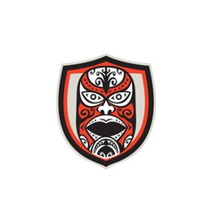 Maori mask shield retro vector