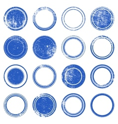 Blue ronded grunge stamp vector