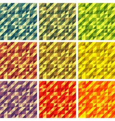 Set colorful 9 bright geometric backgrounds vector