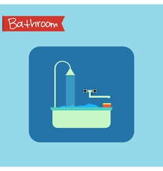 Bathroom interior icon sponge and foam in the bath vector