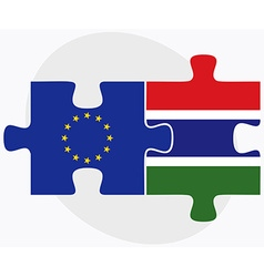 European union and gambia flags in puzzle isolated vector
