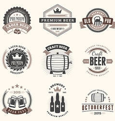 Set of retro vintage beer badges labels logos in vector