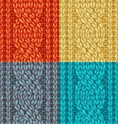 Colourful six-stitch cable stitch textures vector
