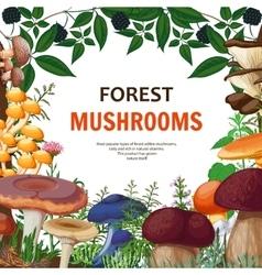 Forest wild mushroom background vector