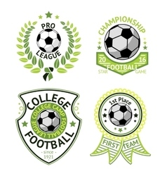 Set of green vintage football labels with vector