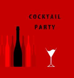 Alcoholic bar menu red vector