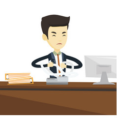 Angry business man tearing bills or invoices vector