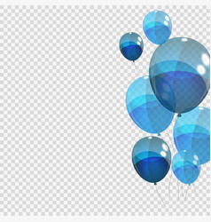 bunche and group of blue glossy helium balloons vector image