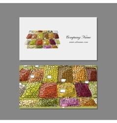 Business cards design fruit market sketch vector image