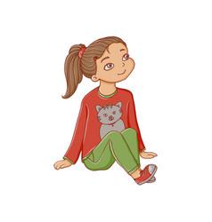 Cartoon girl sitting listening attentively vector