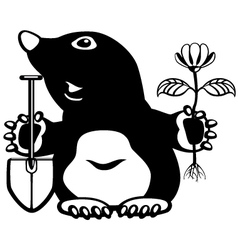 cartoon mole black white vector image