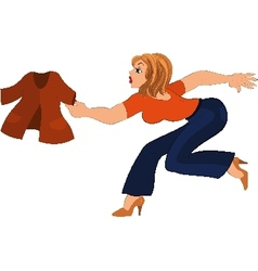 Cartoon woman in blue pants running after jacket vector image vector image