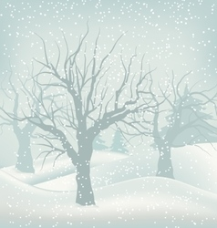 Christmas Winter Outdoor Background Snowfall and vector image