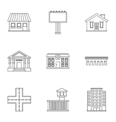 City buildings icons set outline style vector