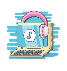 Computer and headphones to listen music vector