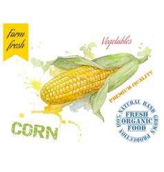 Corn watercolor banner vector