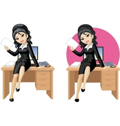 Cute young Asian office woman sitting on table vector image vector image