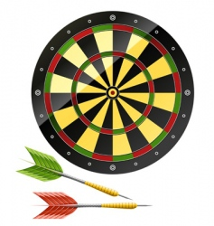 darts with dart board game vector image