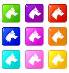 Dog icons 9 set vector
